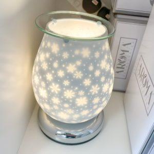 white satin snowflake touch warmer